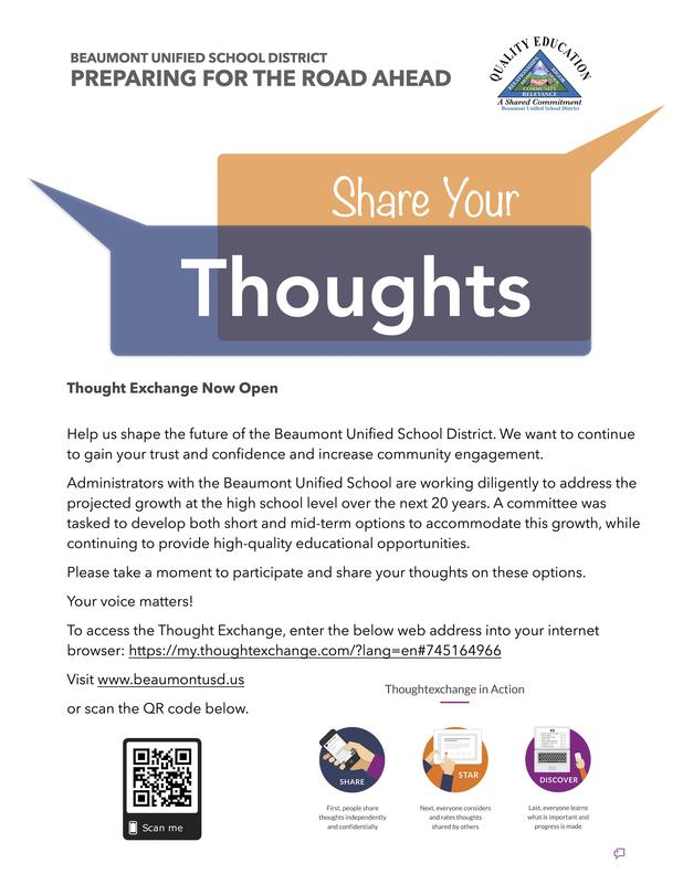 Flyer with Information to Participate in Thought Exchange