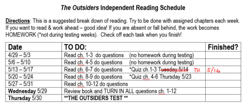 Outsiders Reading Schedule