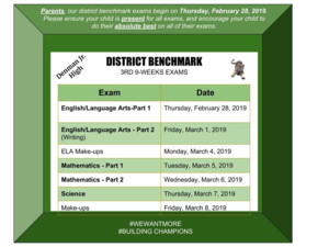 Denman testing schedule 2019