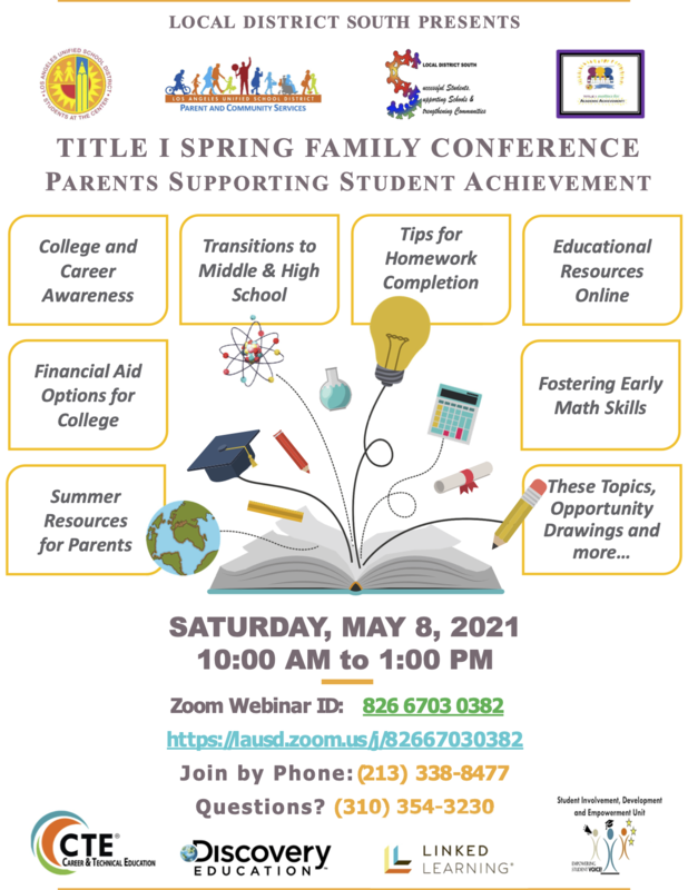 Title 1  Spring Family Conference | Conferencia de primavera para familias de títitulo I Featured Photo