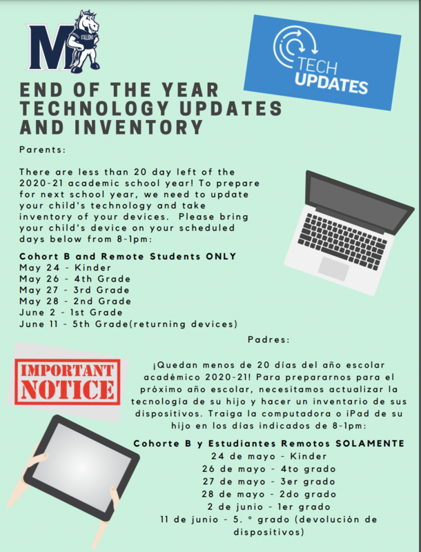 Last Call for End of Year Tech Update/Inventory and Returning Textbooks, June 9-11 @ 8-2 Thumbnail Image