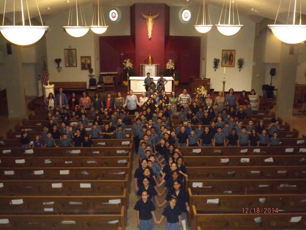 Cross made of students