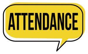The word Attendance in a yellow box