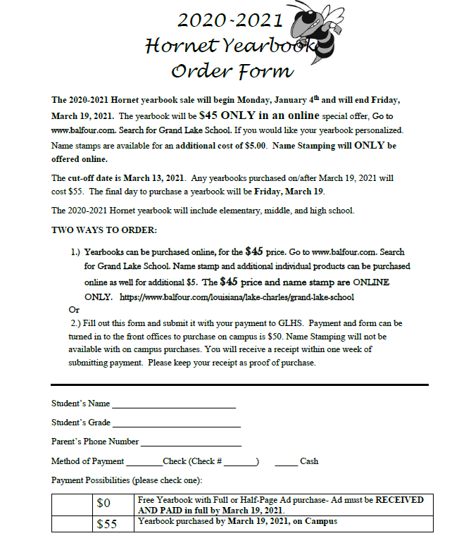 2020-2021 Yearbook Order Form Thumbnail Image