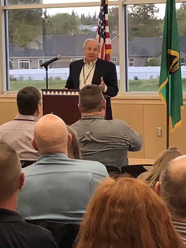 Denny Denholm speaking at the Modernization event at Midway.