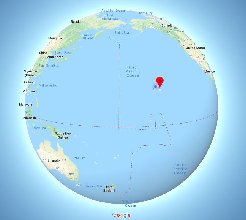 Hawai'i centered globe