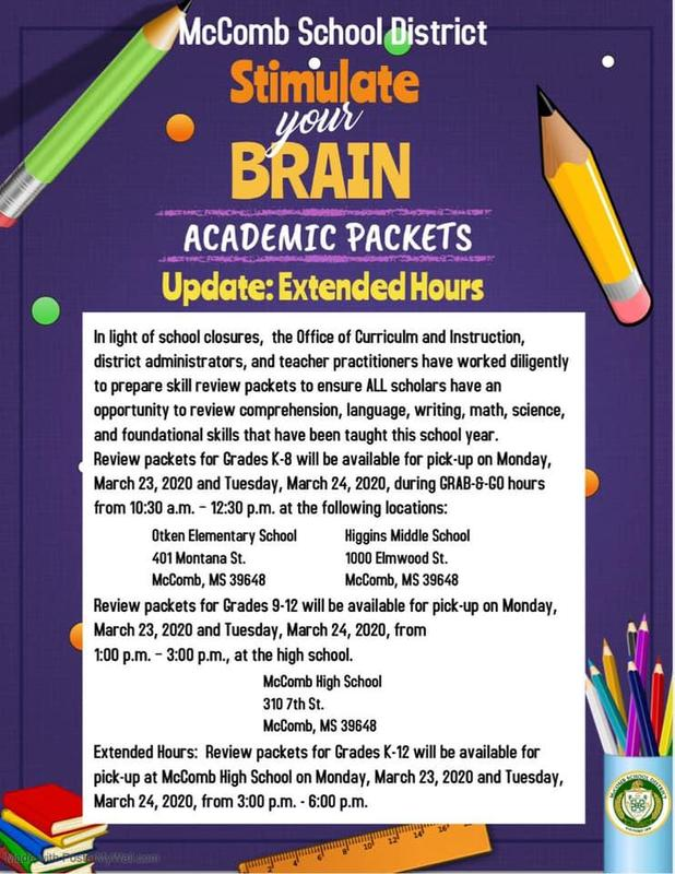 academic packets available March 23, 2020