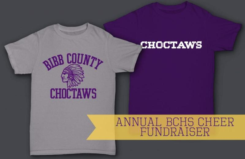Bibb County Choctaw gray shirt with Choctaw head or purple Choctaws shirt with white writing