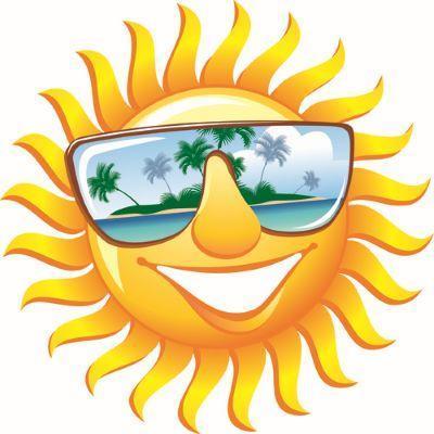 Cartoon of a sun with sunglasses