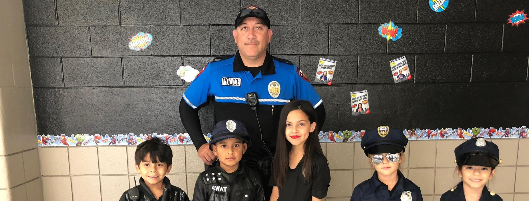 Halloween at Canterbury-students and police officer