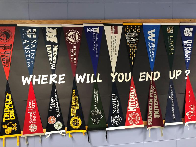What college will you attend? That's the question outside the Guidance Department at Xavier High School.