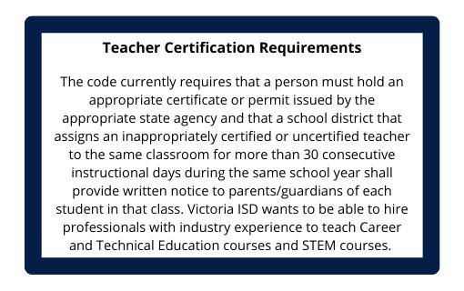 Teacher Certification Requirements