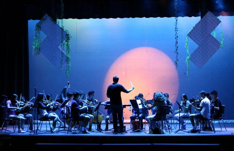 Photo of the WHS Orchestra performing with special lighting techniques.