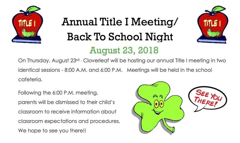 Annual Title I Meeting & Back To School Night Featured Photo