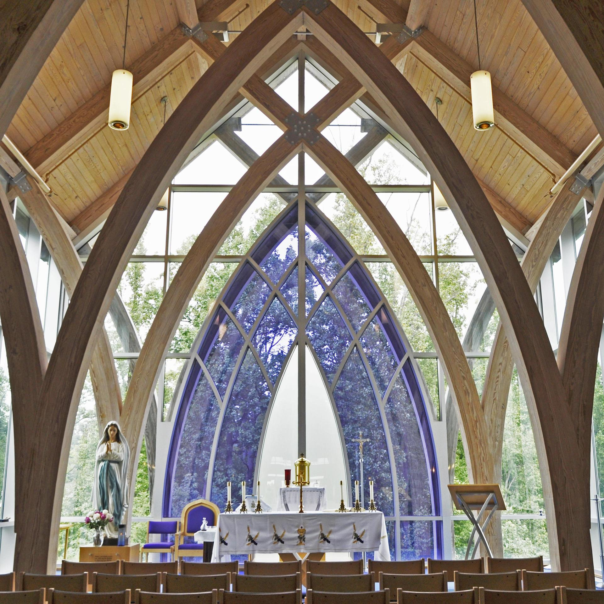 A view of the altar in the school chapel