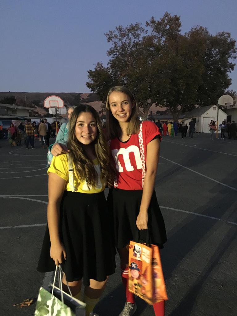 girls dressed as m&m's