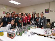 AMJH Jr Officers' collection of food for Feast of Joy