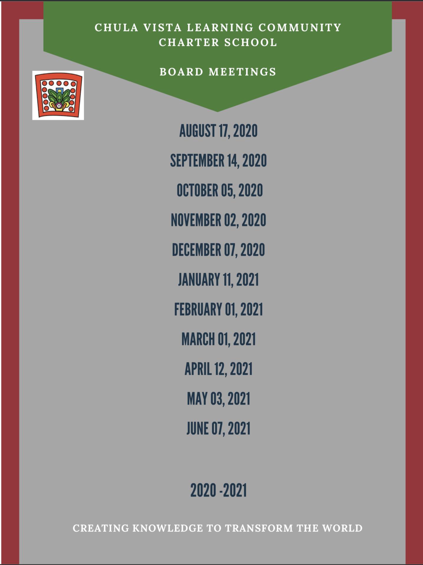 Board Meeting Dates