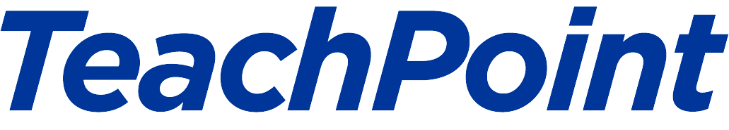 Teachpoint, all text logo, in blue