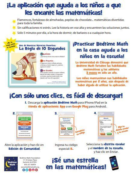 Bedtime Math Flyer Spanish