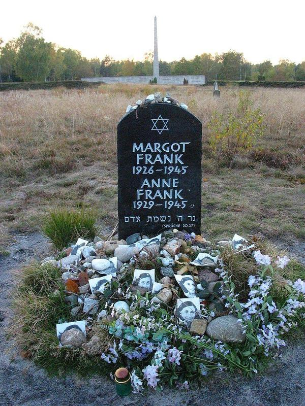 Memorial for Margot and Anne Frank at the former Bergen-Belsen site.