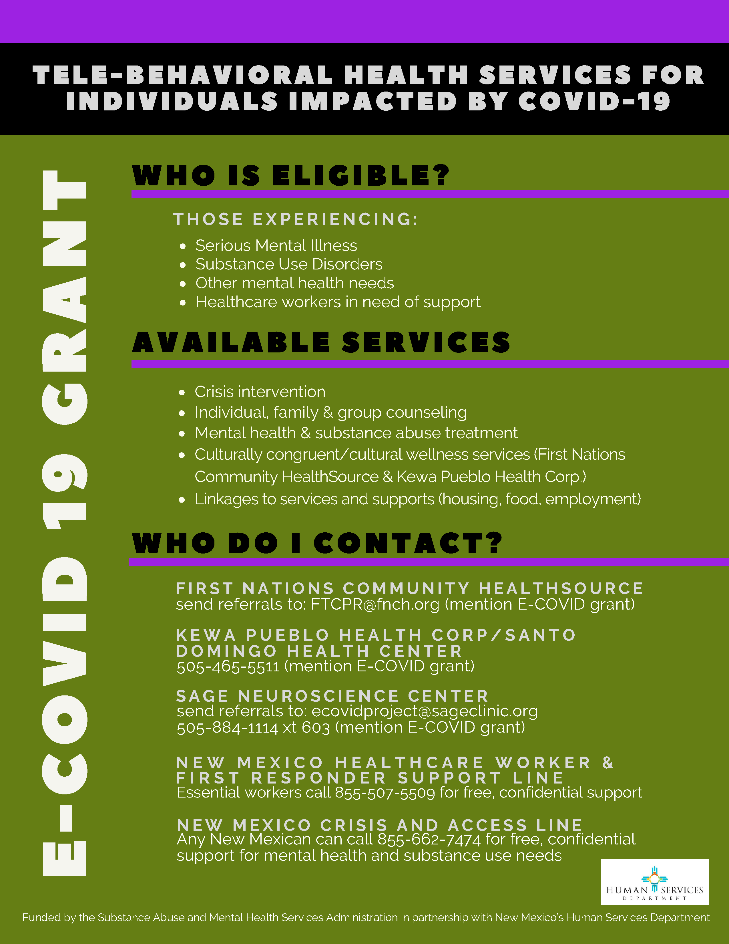 A flyer with white letters on black, purple and green background with information about Tele-Behavioral Health Services for individuals impacted by COVID-19.