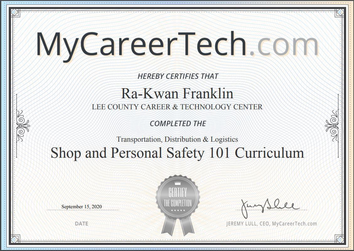 automotive certificate