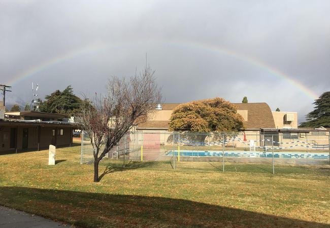 Image of rainbow over the OVUSD gymnasium