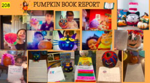 Students with pumpkin characters collage