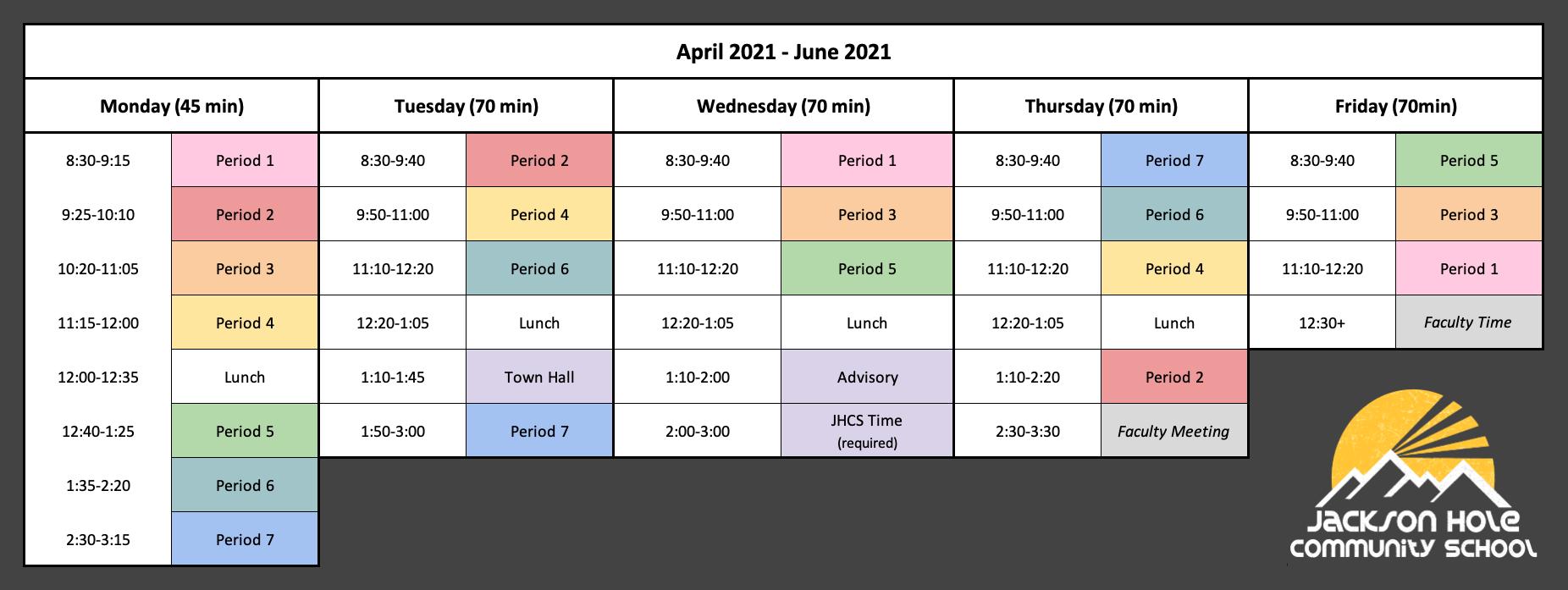 JHCS Daily Schedule April-June 2021