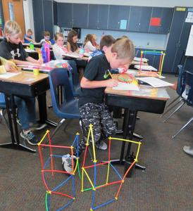 Students use creativity and imagination for building things.