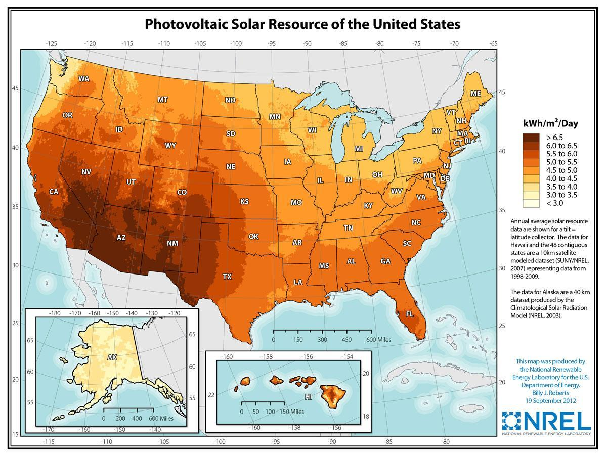 Incoming solar radiation map of United States
