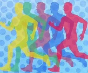 A photo of multi-colored silhouettes of bodies  running