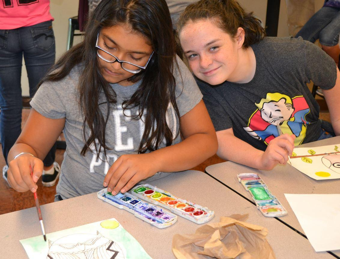 Students working on art class projects
