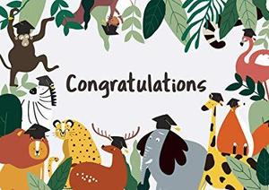 congratulations sign with jungle animals in background