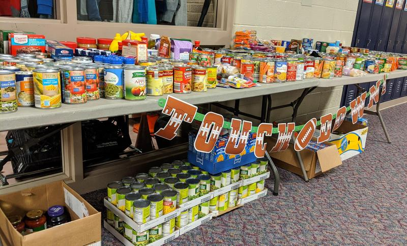 Table full of food for souper bowl