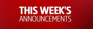 This Weeks Announcements