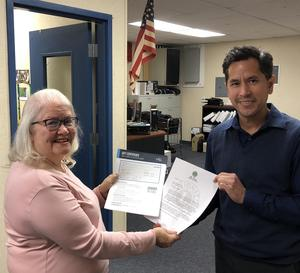Anne Henderson, Past President - Pomona Host Lions in collaboration with Cathy Newton, Seal Beach Lions Club have donated VSP Global (Sight for Students) gift certificates to Pomona Unified School District Health Services to be used at the Marshall Lions Vision Clinic for qualified students.   The VSP certificates cover the comprehensive eye exam and glasses.