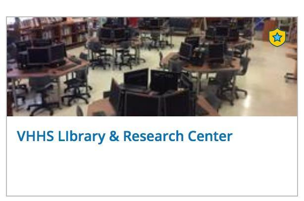 images of the button for the VHHS Library group in Schoology