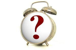 Alarm clock with question mark face