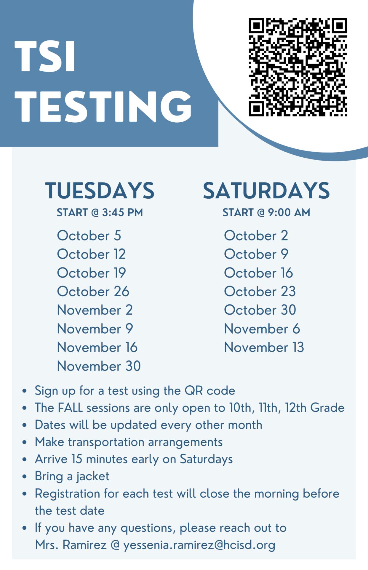 TSI Testing Flyer