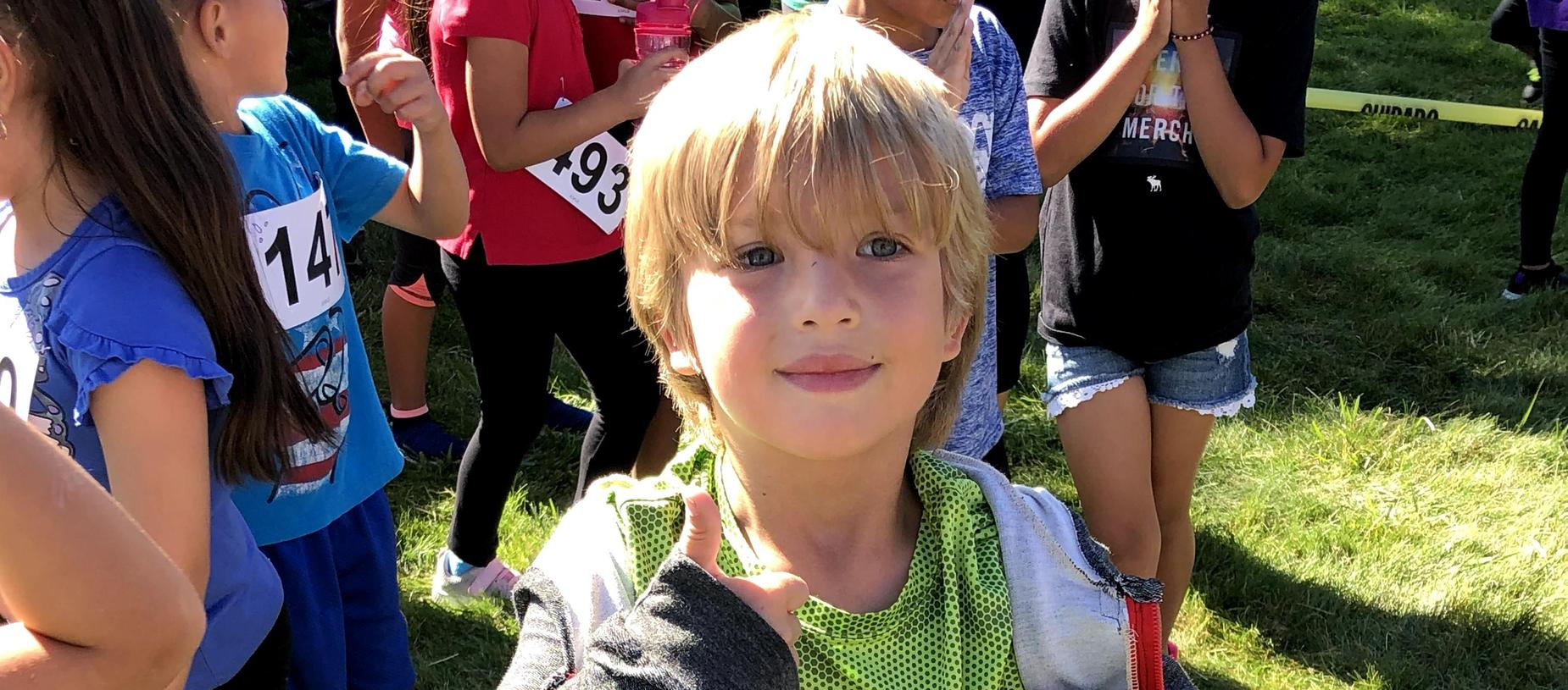 Student ready for the race at the Fall Fun Run