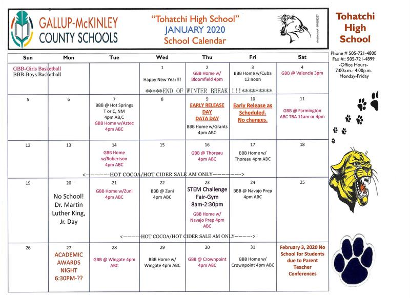 JANUARY 2020 SCHOOL CALENDAR***UPDATED*** Featured Photo