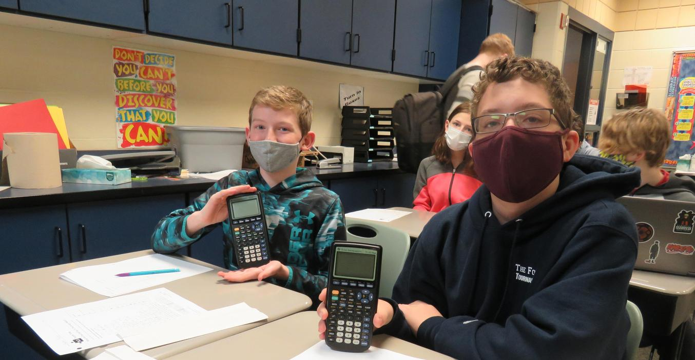 TKMS students use new graphing calculators purchased with the help of a Tanger Kids grant.