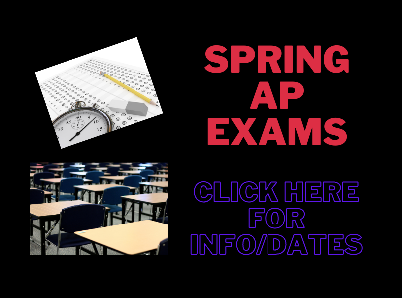 AP Exam Schedule - click here for info/dates