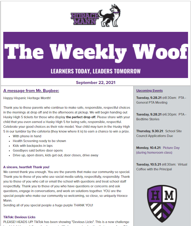 The Weekly Woof Newsletter for September 22, 2021