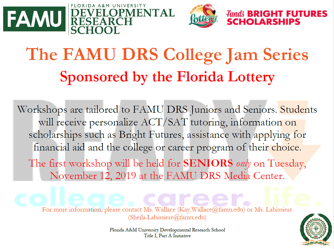 FAMU DRS College Jam Series Launch Flyer