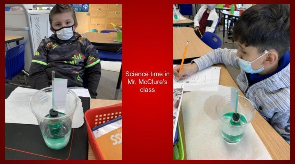 students in mr mcclure's class doing a science experiment involving temperature