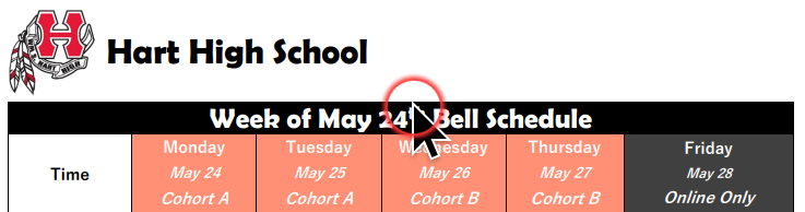 Bell Schedule Banner for Week of 5.24