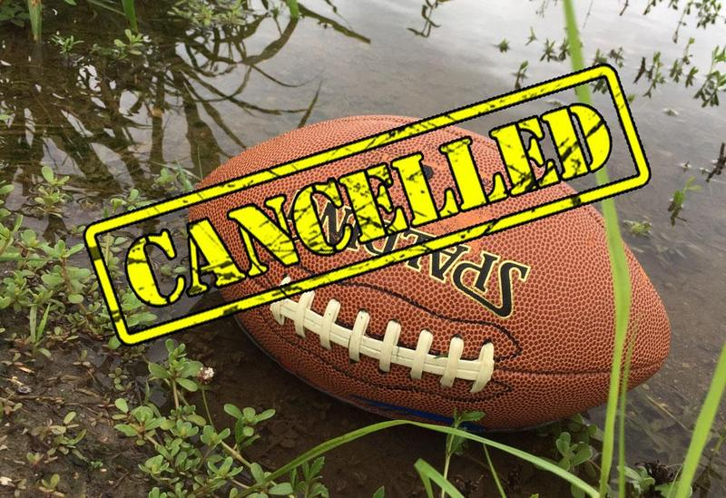 football with the word cancelled across it